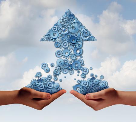 Teamwerk voor succes bedrijfsconcept als twee handen die groepen van tandwielen en radertjes thathave bij elkaar komen om een opwaartse pijl als symbool voor de financiële groei van partnerschappen vormen samen Stockfoto