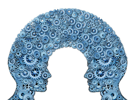 tranfer: Working team and teamwork education symbol represented by two human heads shaped with a group of gears and cogs as a concept of intellectual communication through technology exchange  Stock Photo