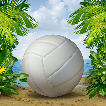 Beach Volleyball on tropical sand as a summer sports and fitness symbol of a team leisure activity playing with a leather ball serving a volley and rally in competition tournaments