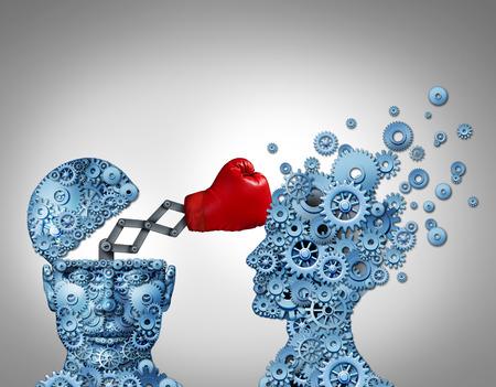 Ventaja de negocios con un concepto arma secreta como un grupo de engranajes en forma de una perforación de la cabeza humana y la destrucción de la competencia con un guante de boxeo rojo escondido como una metáfora de la estrategia empresarial innovadora y de planificación para ganar Foto de archivo