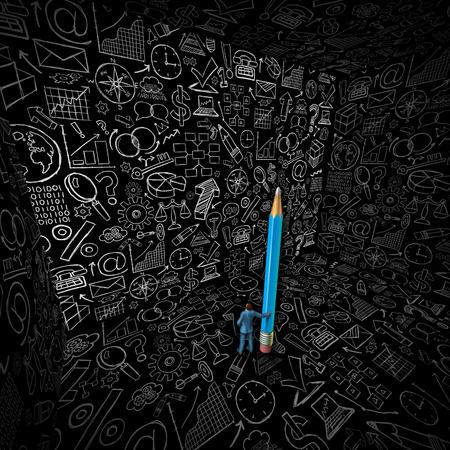 economia aziendale: Disegno strategia d'affari come un concetto di business administration con un uomo in possesso di una matita gigante in una stanza con pareti nere con schizzi di icone finanziari e simboli Archivio Fotografico