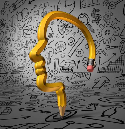 planificacion: Desarrollando Oportunidades concepto de negocio como una forma de una cabeza humana dibujar iconos financieros y símbolos de planificación estrategia como una metáfora para el desarrollo de éxito lápiz Foto de archivo