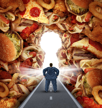Dieting solutions and overweight diet advice concept as an obese man walking on a road to a heap of greasy junk food shaped as a key hole as a metaphor for answers to unhealthy food risk and the challenges of eating disorders resulting in obesity