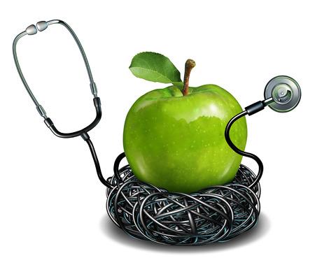 Gezond eten en goede voeding als een arts een stethoscoop in de vorm van een nest bescherming van een groene granny smith appel als gezondheidszorg en geneeskunde concept voor het leven een levensstijl van een goede gezondheid en medische verzekering
