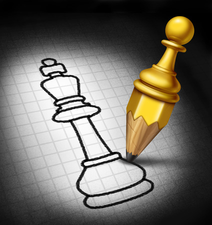 foresight: Leadership strategy and winning plan business concept as a pawn shaped as a pencil drawing a sketch of a chess piece king as a success metaphor for managing career direction