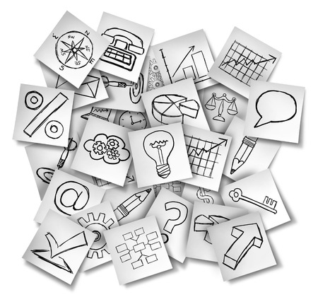 immagination: Office notes icons as a concept for business information and financial data as a group of white papers with drawings of  finance symbols  Stock Photo