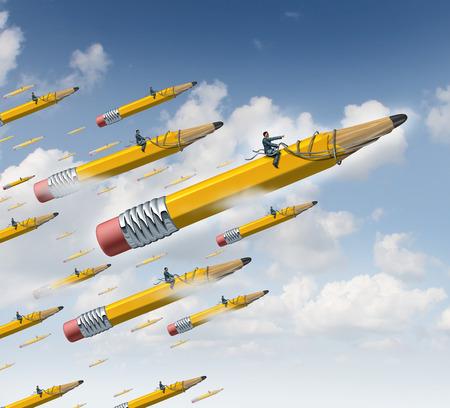 lider: Planificación de concepto de negocio como un líder de negocios en un lápiz amarillo gigante con un arnés de guiar a un grupo de seguidores como una metáfora de orientación liderazgo creativo y desarrollo de una estrategia de equipo