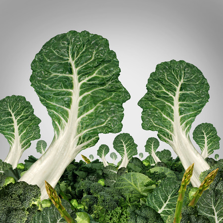 growers: Vegetarian community and healthy eating society concept as a group of green leafy vegetables shaped as human heads as a health symbol of organic  and agriculture idea for food growers social network