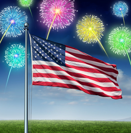American celebration and national Holiday of fourth of July\ concept as a USA flag flying over a sky with festive fireworks\ display as a symbol of United States traditional culture of\ independence day celebration