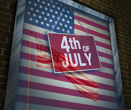 American Holiday fourth of July concept as a store window\ sign with a reflection of a USA flag on glass as a symbol of\ traditional culture of independence day celebration