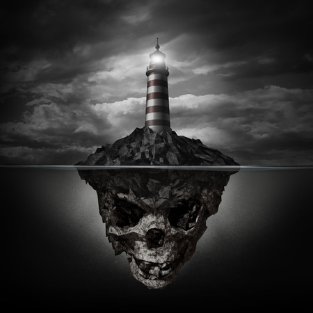 Dangerous advice and bad direction concept as a glowing lighthouse beacon on a rock island shaped as an underwater human skull on a dark background as a metaphor for dishonesty and deception