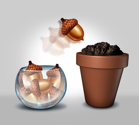 self starter: Individualism and freedom concept as a glass bowl containing a group of acorn seeds with one individual seed jumping out and into a flower pot with fertile soil as a metaphor for growth