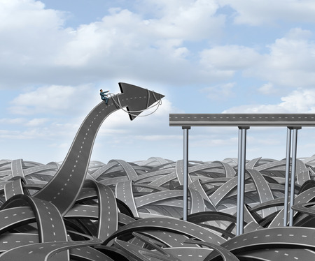 individualism: Journey success business concept as a businessman guiding a road arrow out of chaos to connect with a straight bridge as a metaphor for leadership and the determined courage of individualism