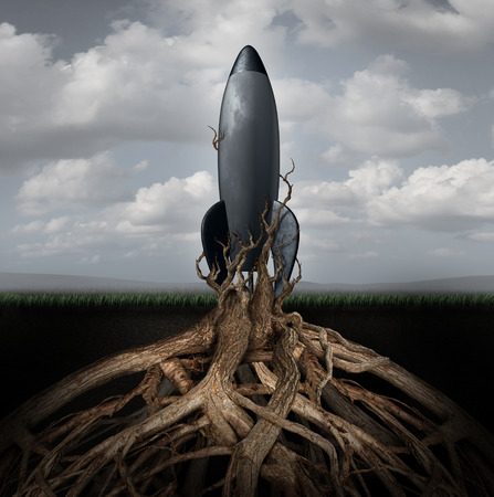 deep roots: Rooted down concept with an aging rocket ship being held down by growing tree roots as a metaphor for uncompetitive and abandoned strategy of past forgotten potential and broken dreams of glory