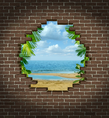 breaking: Vacation escape concept and getting away symbol as a broken brick wall revealing a tropical beach rersort tourist attraction as an icon for escaping the city to a warm paradise destination  Stock Photo