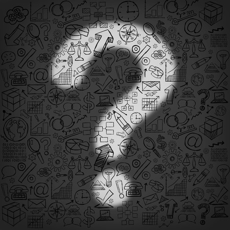 financial questions: Business questions concept as a dark wall of financial icons and symbols with an illuminated light shaped as a question mark as a metaphor for finding answers and direction