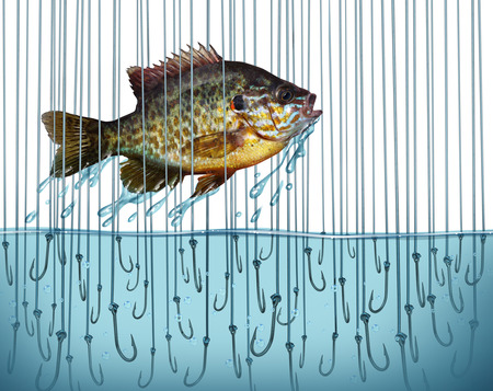 breaking free: Avoid risk escape danger as a business metaphor with a jumping fish breaking free out of water that is full of sharp fishing bait hooks as a symbol of overcoming difficult challenges  Stock Photo