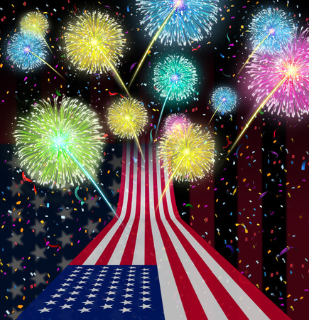 fourth of july: Fourth of July party as an American celebration and national Holiday for independence day as a USA flag flying up to the a sky with festive fireworks display and confetti as a symbol of United States traditional culture  Stock Photo