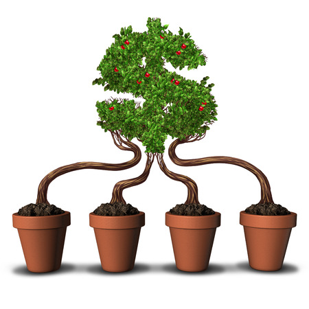 financial metaphor: Team investing and group Investment business concept as four planting flower pots with trees growing together into the shape of a dollar or money symbol as a financial metaphor for building wealth through teamwork