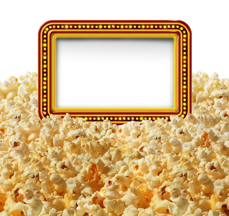 movie theater: Cinema popcorn with a blank movie marquee sign as an entertainment communication symbol for TV shows or theater performances isolated on a white background