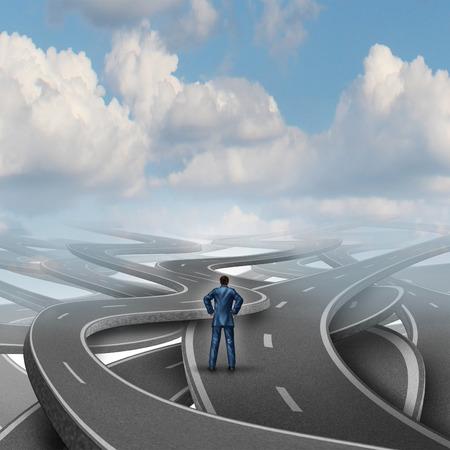 financial metaphor: Desaf�o carretera gerente confusi�n y crisis concepto de negocio como un hombre de negocios confundido frente a un reto dif�cil con un grupo de calles y carreteras en direcci�n caos como met�fora financiera