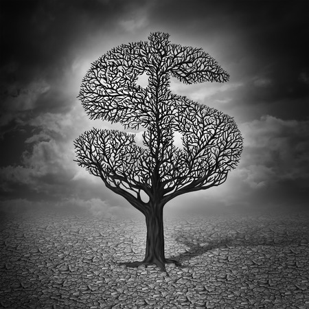 money symbol: Finance crisis and financial drought business concept as a dying tree with no leaves in a drought landscape as a symbol of a bad economy and investment despair in a stock market decline  Stock Photo