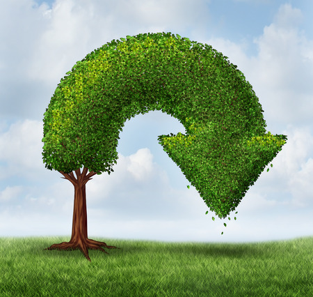 financial growth: Financial crisis and growth problems as a business and finance concept for investment loss and downward growing trend as a tree shaped as an arrow pointing down as a symbol of recession or market crash  Stock Photo
