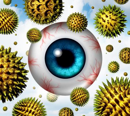 eye ball: La fiebre del heno y el concepto de la alergia al polen como un conjunto de part�culas de polinizaci�n org�nicos microsc�picos que vuelan en el aire con una bola del ojo humano que pica y acuosos con venas rojas como s�mbolo de atenci�n m�dica de las alergias estacionales y sufrimiento irritaci�n