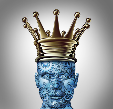 Innovation leadership and technology leader concept as a group of gears and cogs shaped as a human head as a symbol of industry visionary success wearing a king crown  photo
