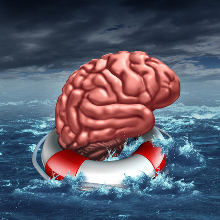 brain function: Saving your brain anf preserving memory and neurologial function as a lifesaver in the ocean saving the the human thinking organ as a health care and medical concept for cognitive therapy to help cure dementia autism or aging diseases