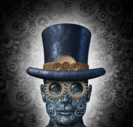 Steampunk science fiction concept as a fantasy mechanical human head made of gears and cogs wearing a historical victorian retro top hat as a technology symbol of futuristic fictional machine hybrid