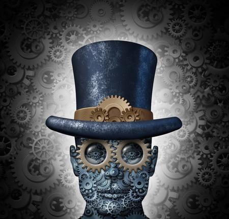 historische: Steampunk sciencefiction-concept als een fantasie mechanische menselijk hoofd gemaakt van tandwielen en radertjes met een historische Victoriaanse retro hoge hoed als een technologie symbool van futuristische fictieve machine hybride Stockfoto