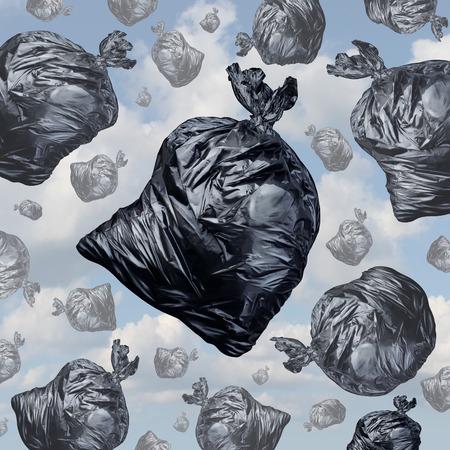 불쾌한 냄새가 환경 파괴 문제와 폐기물 관리 문제의 배경으로 하늘에서 떨어지는 검은 색 쓰레기 봉투로 쓰레기 개념