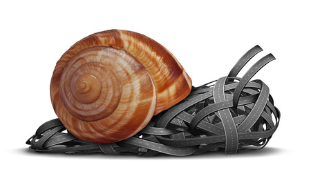 Slow direction business concept as a group of roads shaped as a slow moving snail as a metaphor for traffic delays in a bind or sluggish financial guidance and advice