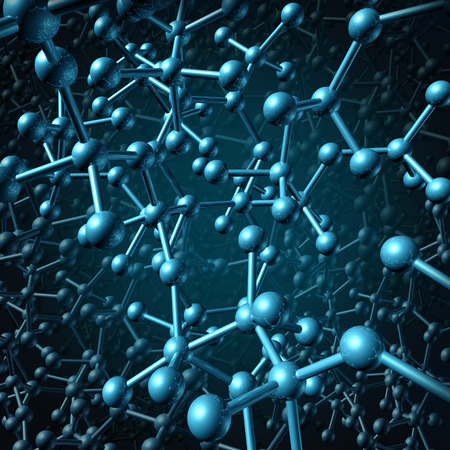 shere: Molecule concept as a group of three dimensional atoms in a blue background connected together by chemical bonds as a molecular science symbol and chemistry icon background  Stock Photo