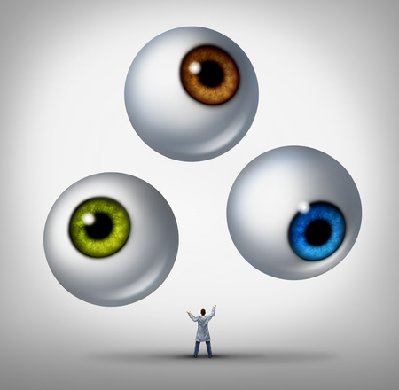 Optometrist doctor concept and optician services symbol as a health professional juggling human eye balls as a metaphor for patient vision and eyesight health care  photo