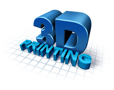 additive manufacturing: 3D printing concept with three dimensional text as a symbol of new print technology duplicating objects for product or prototype development,using industrial replicator robots and future manufacturing process