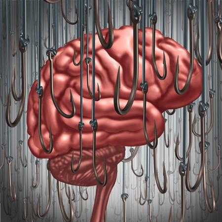 Verslaving en afhankelijkheid concept als een menselijk brein gelokt en omringd door vissen haken als een risico-symbool en metafoor voor een drugsverslaafde of het gevaar van alcoholisme gokken en drugsmisbruik roken als een psychisch probleem