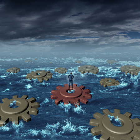 adversity: Business crisis management concept as a businessman on a machine cog floating with a group of other detached gears on a stormy sea as a symbol of industry adversity and  leadership skill to put the pieces together