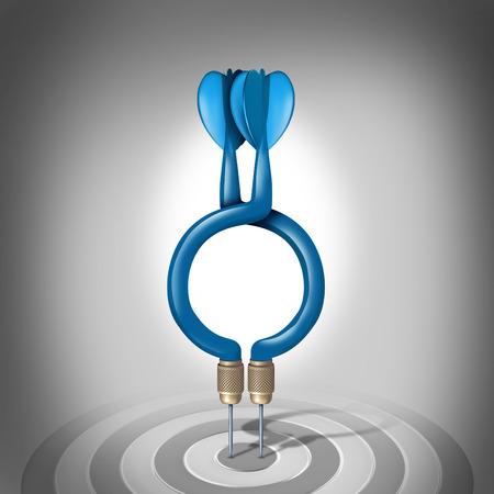 pensamiento estrategico: Objetivos comunes y unir fuerzas en un acuerdo comercial para combinar habilidades empresariales para compartir una visión para el éxito financiero como dos tres dardos dimensionales unidos en un símbolo e icono de una relación simbiótica