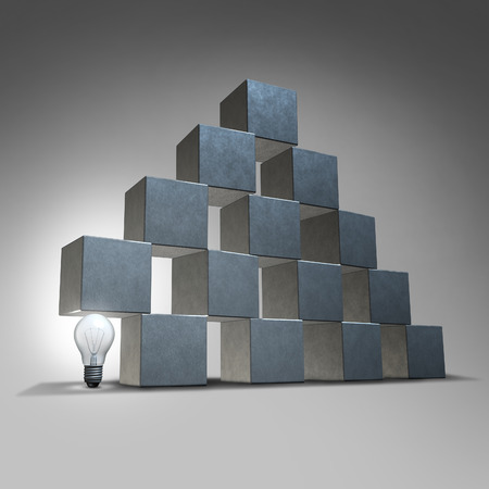Creative support and business marketing partnership concept as a group of three dimensional cubes being supported by an illuminated lightbulb as a symbol of company backing from innovative leadership solutions Banco de Imagens - 30031229