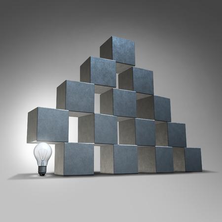 Kreative Unterstützung und Business-Marketing-Partnership-Konzept als eine Gruppe von dreidimensionalen Würfel, die von einem beleuchteten Glühbirne als Symbol der Firma Rückendeckung von Innovationsführerschaft Lösungen unterstützt
