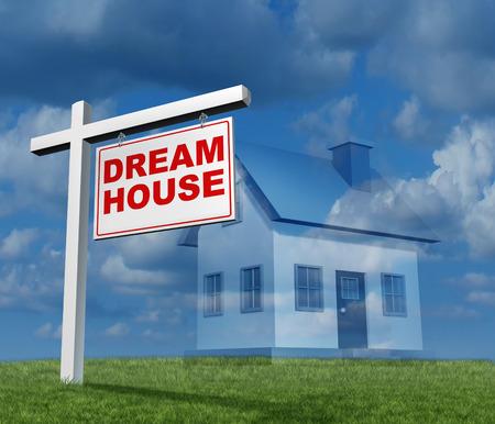droomhuis: Dream house-concept als een onroerend goed teken met een eengezinswoning imaginationas een plan of aspiratie voor een toekomstige nieuwe woningbouw fantasie Stockfoto