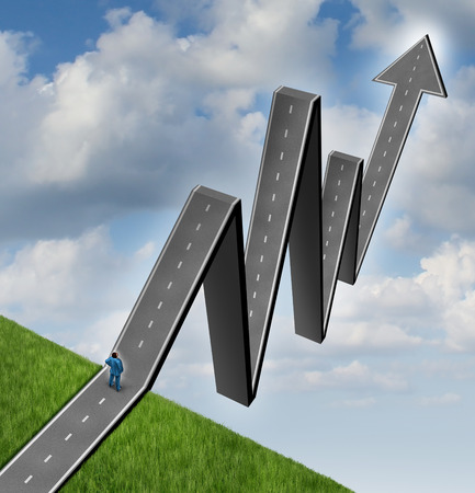 path to wealth: Financial outlook profit road and career aspirations business concept as a businessman standing in front of an arrow path that is shaped as a stock market graph diagram as a symbol of wealth success and finance forecasting