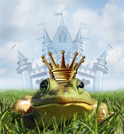 sapo principe: Pr�ncipe de la rana castillo concepto con la corona de oro que representa el s�mbolo de cuento de hadas del romance esperanza y cambio en una transformaci�n de un anfibio de guapo realeza despu�s de un beso de la princesa