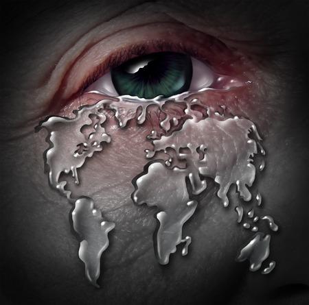 crisis economica: La crisis mundial y el mundo de estrés con una lágrima humana que fluye de una forma como un mapa del mundo como un concepto de daño ambiental al planeta o un concepto de problema internacional económica ojo triste deprimido