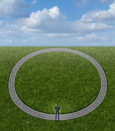 going nowhere: Going in circles and career problems business concept with no change in status as a businessman on a pointless circular repeating road as a symbol of stagnation and wasted time by following a useless path to nowhere  Stock Photo