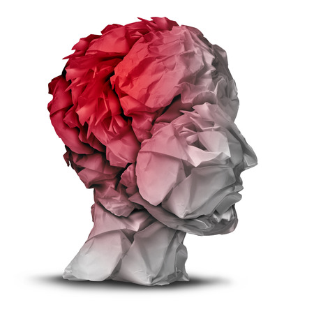 brain cancer: Head injury and traumatic brain accident medical  and mental health care concept with a group of crumpled office paper shaped as a human mind with red highlighted area as a symbol of trauma problem  Stock Photo