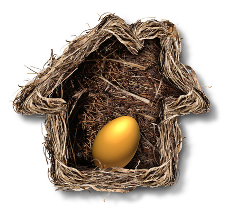 gniazdo jaj: Finanse domowe i symbolem praw własności mieszkaniowej jako gniazdo ptaka w kształcie domu rodzinnym z jaj wewnątrz złoto jako metafora dla planowania bezpieczeństwa finansowego i inwestowania w nieruchomości o wolność emerytalnego