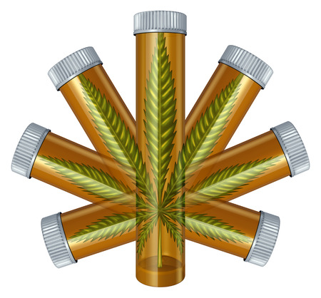 Medical Marijuana concept as a prescription medicine bottle in the shape of a cannabis leaf as a medical alternative symbol for the legal use of  herbal drugs isolated on a white background,